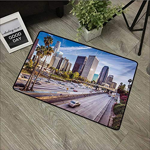 Anzhutwelve Travel,Entry Rug Downtown Cityscape of Los Angeles California USA Avenue Buildings Palms Print W 16