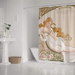 Kuizee Shower Curtain Waterproof Elegant Mucha Art Nouveau Style Goddess Myth Bath Curtains Polyester Decor Bathroom 66×72Inch Water-Repellent Bath Curtain Easy Install