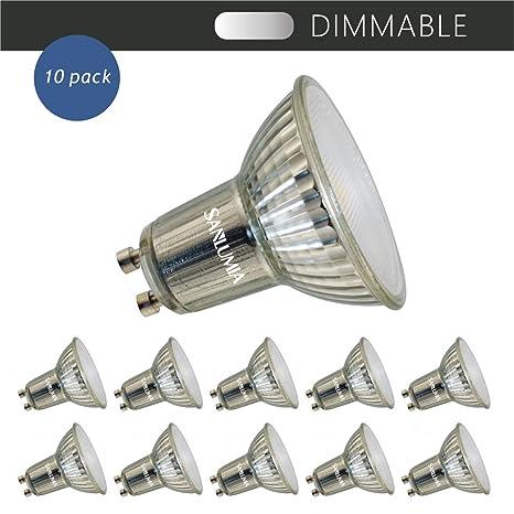 Sanlumia Bombillas LED GU10, Regulable, 7W=75W Halógena, 650Lm, Blanco Neutro (4000K), 110 ° ángulo de haz, Iluminación de Techo para Cocina, ...