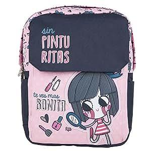 Chenson mochila escolar mediana para niña color rosa con gris linea Anita Mejia
