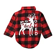 Newborn Baby Girl Boy Christmas Deer Plaid Romper Bodysuit Winter Fall Clothes (0-6Months)