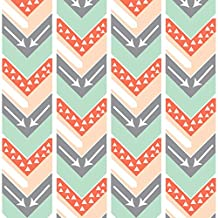 Arrows Fabric Coral, Blush, Grey, Mint Arrow Chevron - Triangles And Arrows by Modfox Printed on Basic Cotton Ultra Fabric by the Yard by Spoonflower