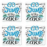 Lunarable Cabin Coaster Set of Four, Vintage Typography Inspirational Quote Lake Sign Canoe Fishing Sports Theme, Square Hardboard Gloss Coasters for Drinks, Blue Black Green