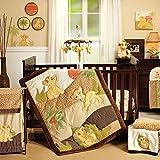 Disney Lion King Simba's Wild Adventure 7 Piece Nursery Crib Bedding Set, Appliqued Comforter, Sage, Orange, Brown, Ivory