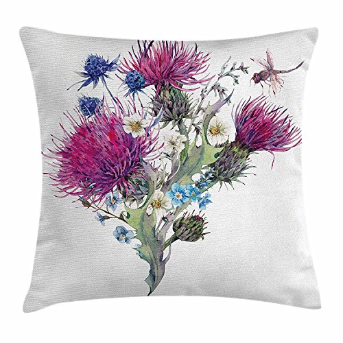 (Ashasds Dragonfly Summer Natural Meadow Herbs Bouquet Wild Thistles Chamomiles Watercolor Boho Art Throw Pillow Covers For Home Indoor Friendly Comfortable Cushion Standard Size 24x24 IN)