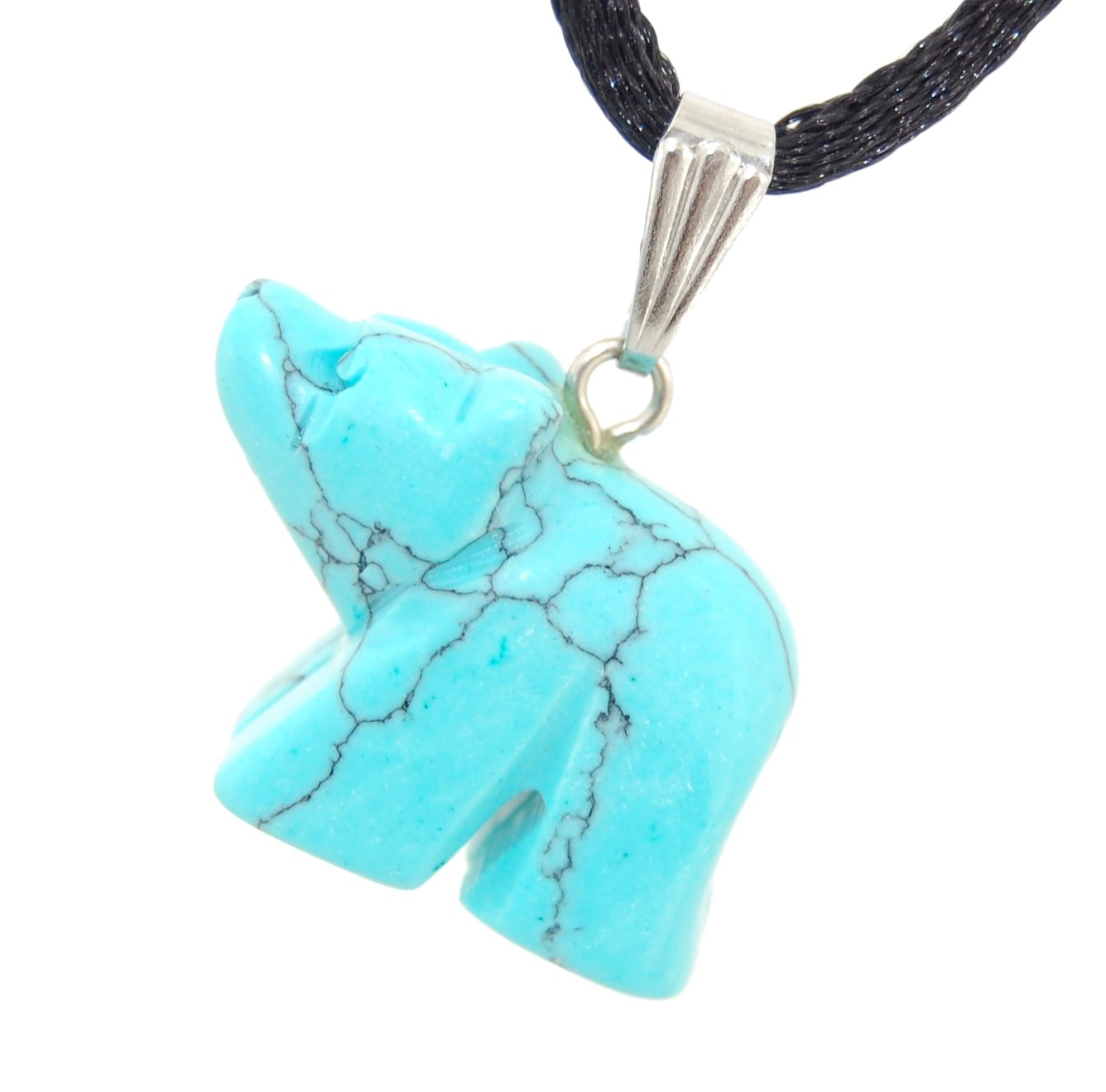 Steampunkers USA Wild Earth Collection - 22mm Carved Bear Turquoise Blue, 20'' Adjustable Soft Black Poly Woven Washable Cord Stainless Bail - Natural Crystal Gemstone Carved Necklace Charm