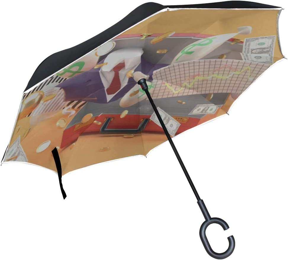 Double Layer Inverted Inverted Umbrella Is Light And Sturdy Suit Money Graph Floating Businessmans Bag Reverse Umbrella And Windproof Umbrella Edge N