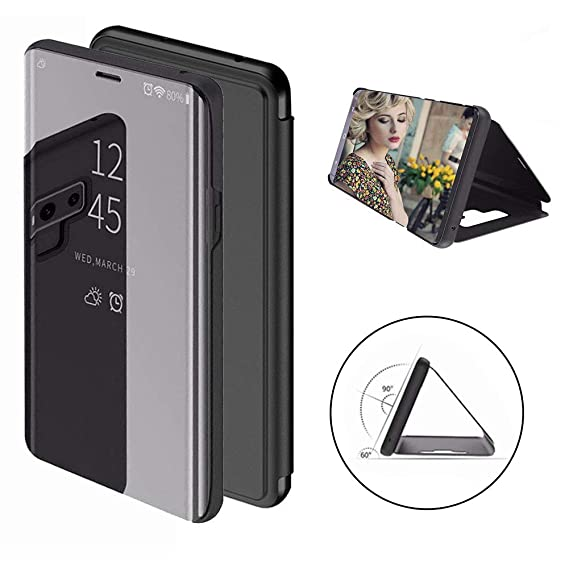 new products 2cace eaa27 Galaxy Note 9 Mirror Case Smart Sleep Covers Full Protective Phone Cases  Flip Leather Cover for Samsung Galaxy Note9 Smart Phone (Black)