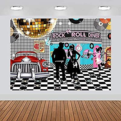 musykrafties 50s Diner Backdrop Large Banner Decoration Dessert Table Background Photobooth Prop 7x5feet: Home & Kitchen