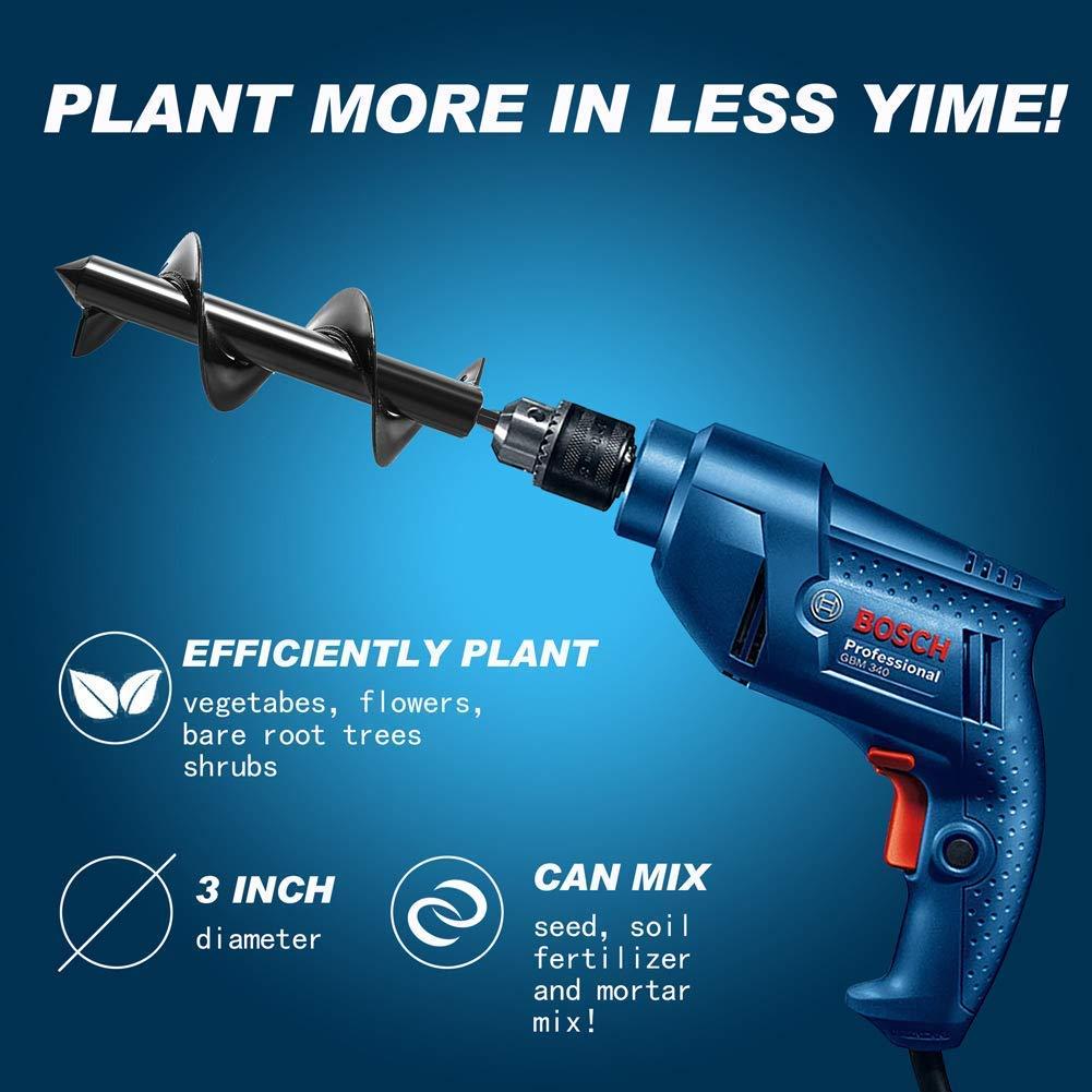 Auger Drill Bit, Non-Slip -3.5'' x 12 '' Garden Plant Flower Bulb HEX Shaft Auger, Earth Auger Bit, Fence Post Hole Digger Drill Bit- Bulb & Bedding Plant Auger by KINGBOO
