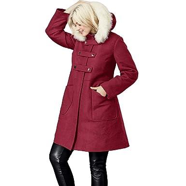 6506d88dd68 Amazon.com  Ellos Women s Plus Size Faux Fur Trim Wool-Blend Coat ...