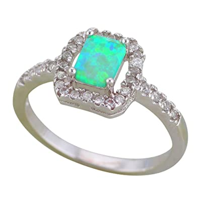 Psrings Design Jewelry Green Fire Opal Silver Stamped Rings Lover