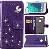 Google Pixel Case,HAOTP Luxury 3D Handmade Bling Crystal Rhinestone Butterfly Floral Lucky Flowers PU Flip Stand Credit Card ID Holders Wallet Leather Case Cover for Google Pixel (Bling /Purple)