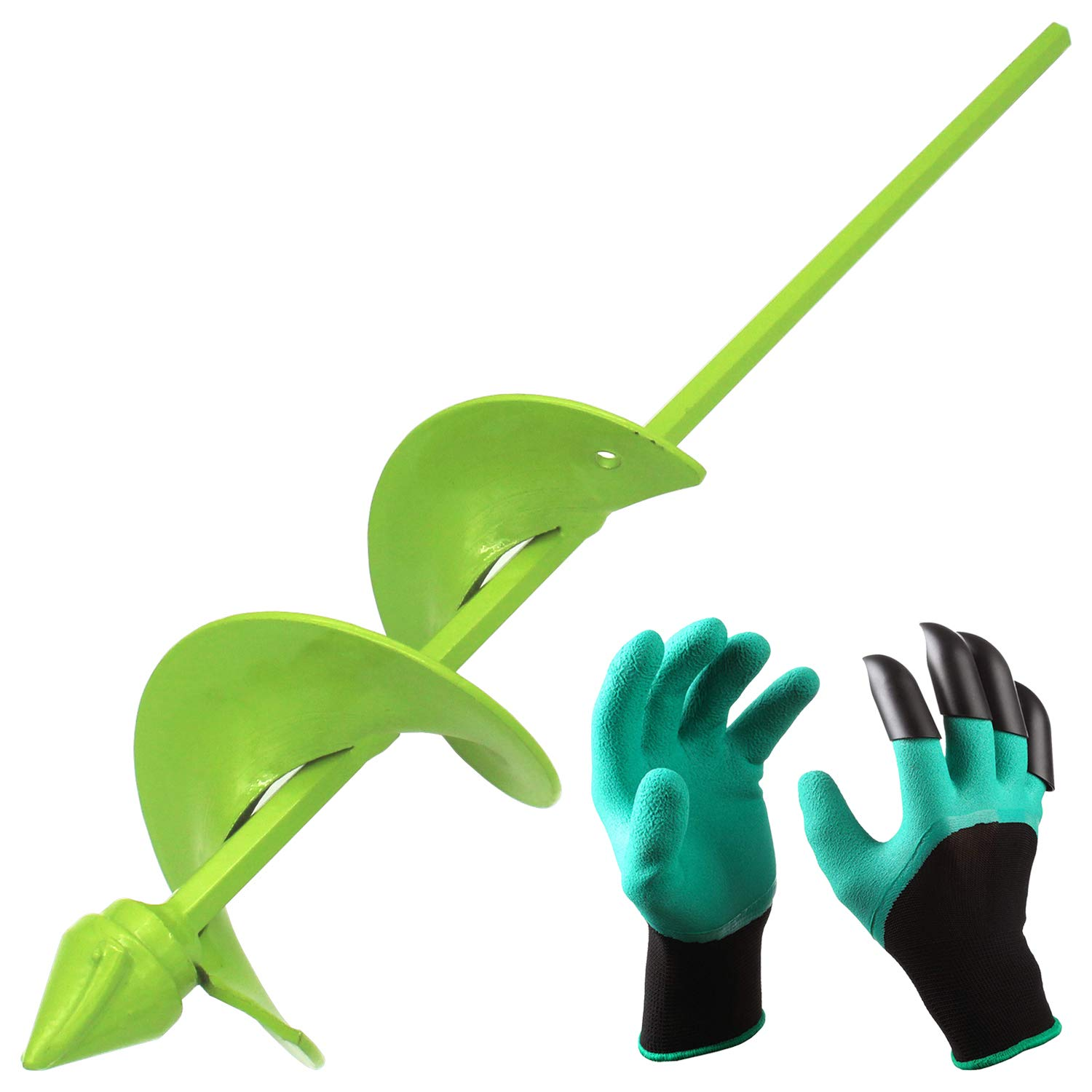 [Upgrade Version]BLIKA Auger Drill Bit, Garden Plant Flower Bulb Auger 3'' x 16'' Rapid Planter with Garden Genie Gloves, Earth Auger Bit, Non-Slip Hex Drive fits Any 3/8-inch Drill by BLIKA