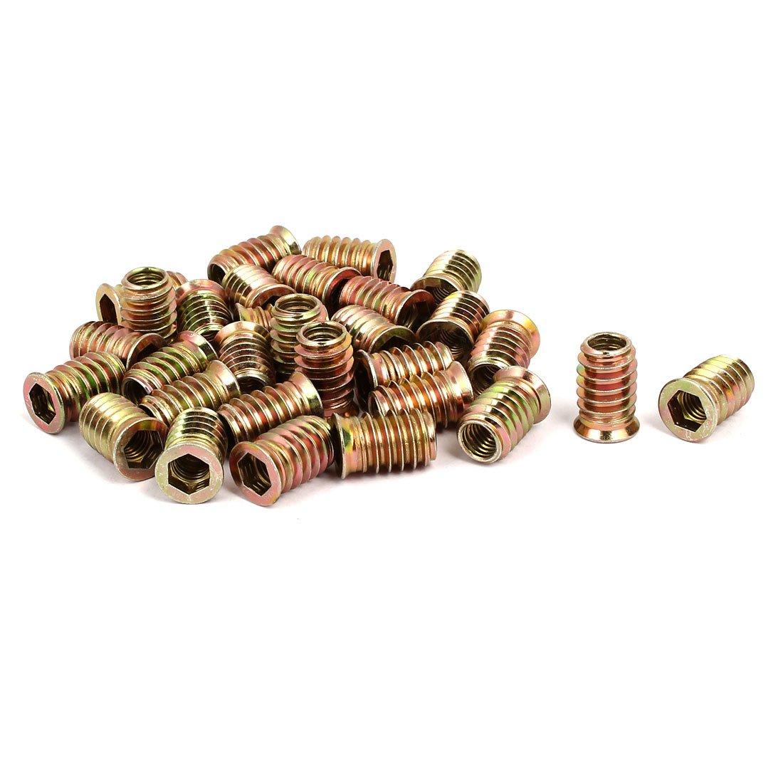 uxcell Wood Furniture M8x20mm Insert Interface Hex Socket E-Nut Bronze Tone 30pcs