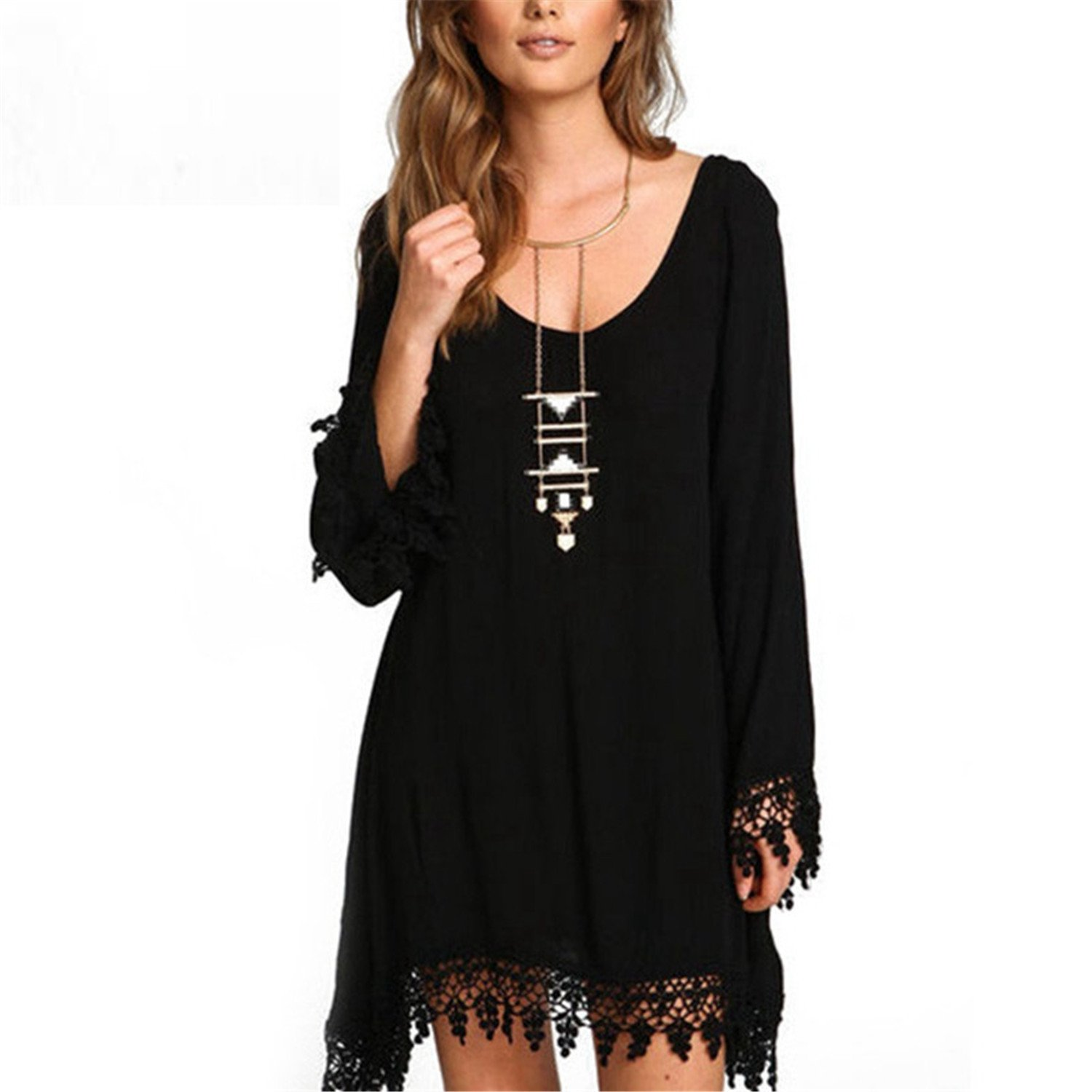 Kateirmaso Women Casual Loose Long Sleeve Black Tassel Party Dress Summer Boho Style O Neck Beach Plus Size 5XL at Amazon Womens Clothing store: