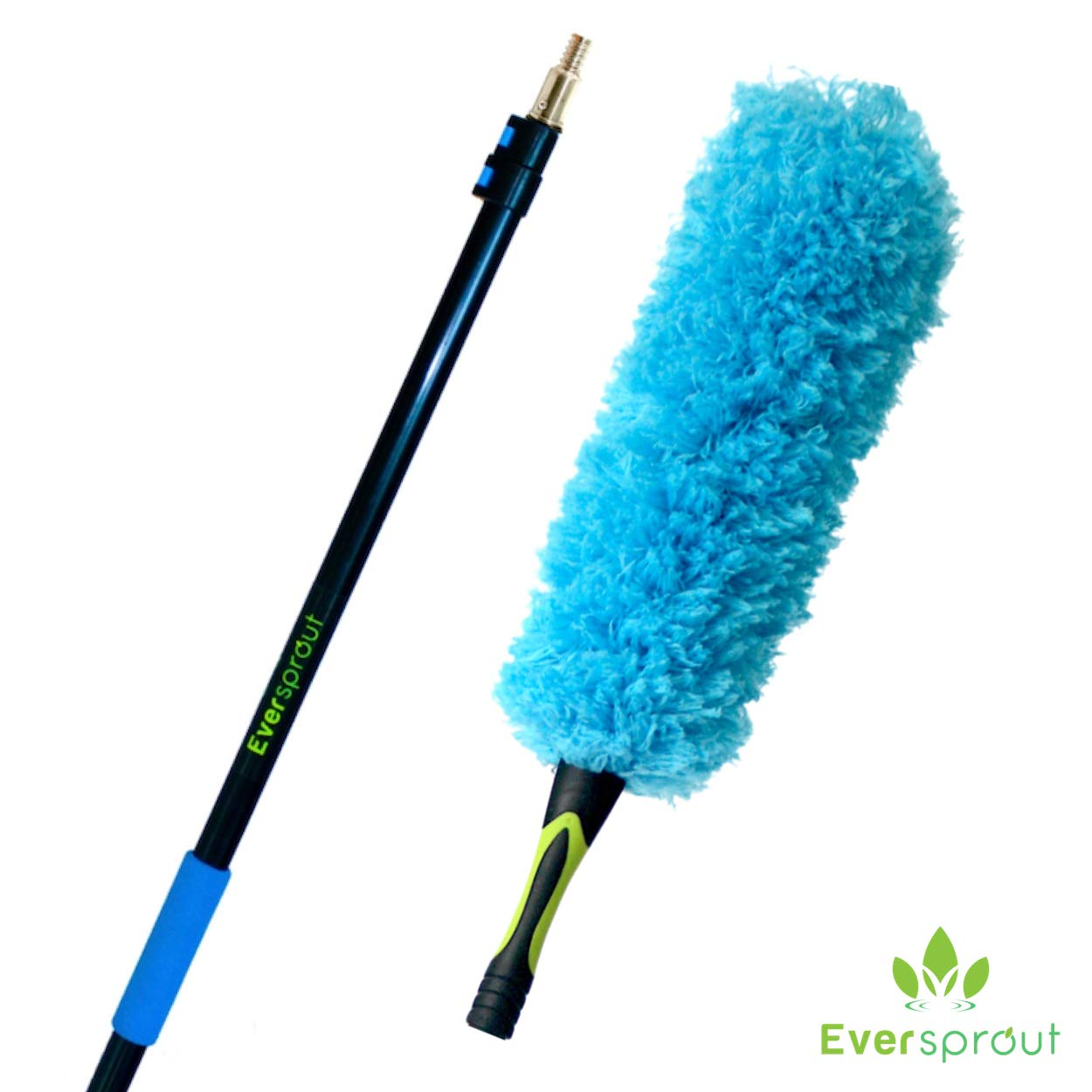 EVERSPROUT 8-to-20 Foot Flexible Microfiber Feather Duster and Extension Pole Combo (25 Foot Reach) | Lightweight, High-Grade Aluminum, 3-Stage Telescopic Pole | Extra Long 24-inch Feather Duster by EVERSPROUT