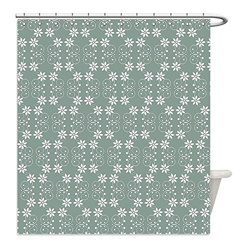 Liguo88 Custom Waterproof Bathroom Shower Curtain Polyester Garden Artistic Baroque Style Inspired Delicate Daisy Flower Petals and Dots Light Sage Green White Decorative bathroom