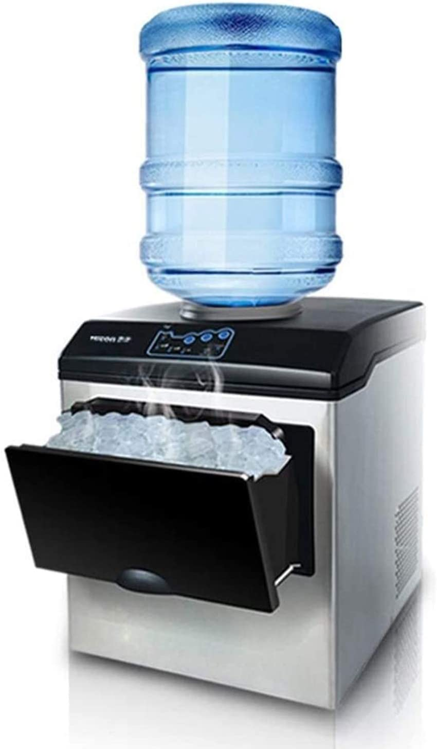 CZZ11 2in1 Water Dispenser Built-in Ice Cube Maker Machine Counter Top Up to 25kgs,Ice Maker with LED Display, 8-12 Min Ice Making, Stainless Steel (3 Types Ice)