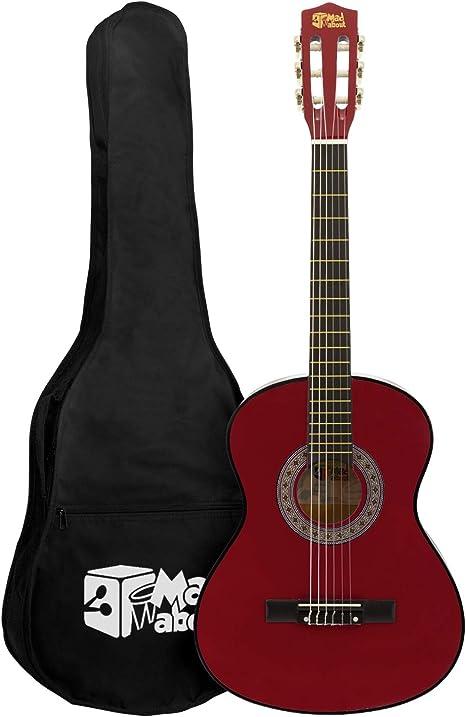 Mad About MA-CG01 Guitarra Clásica 3/4 Guitarra Clásica Roja Tamaño 3/4 Guitarra Española Colorida con Bolsa de Transporte, Correa, Púa y Cuerdas de Repuesto: Amazon.es: Instrumentos musicales
