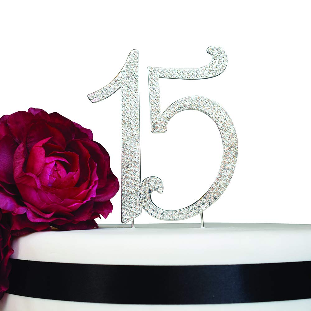 15 Quinceañera Birthday Cake Topper | Premium Bling Crystal Rhinestone Diamond Gems | 15th Birthday or Anniversary Party Decoration Ideas | Quality Metal Alloy | Perfect Keepsake (15 Silver)