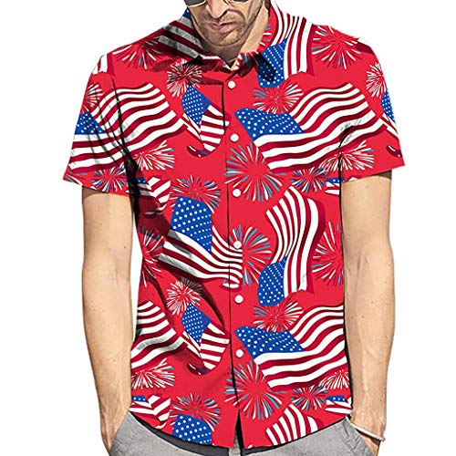 ??Men's American Flag Printed Shirts,BOLUBILUY Button Down Patriotic Blouse Short Sleeve Hawaiian Tops Summer Red
