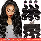 Bleaching Hair Makes It Thicker - SherryHair 10A Brazilian Body Wave Virgin Hair 3 Bundles With Closure Three Part Unprocessed 100% Human Hair Bundles With Lace Closure (18 20 22+16frontal')