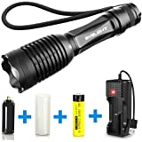 BYBLIGHT Small LED Torch Rechargeable, Super Bright 800 Lumens CREE LED Flashlight, IP65 Waterproof Zoomable Torch Light with 5 Modes, USB Charger and 18650 Rechargeable Battery (Included)