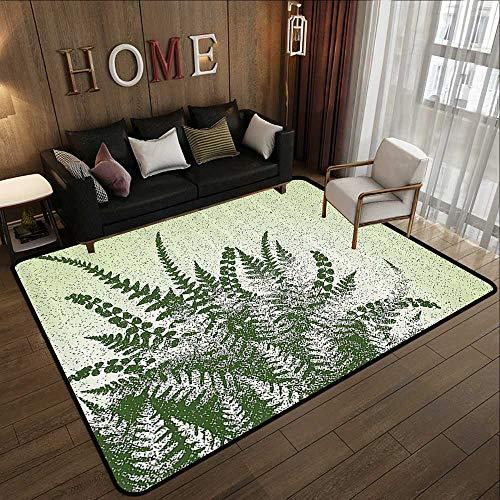 (Floor mat,Green Decor,Nature Botanic Exotic Plants Aloe Vera Leaves and Grunge Image,Pale Green Olive Green 59