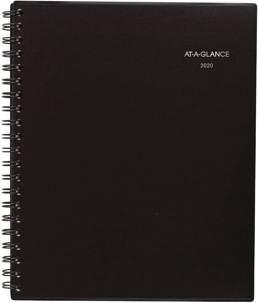 """AT-A-GLANCE 2020 Weekly & Monthly Planner, 8-1/4"""" x 11"""", Large, Notetaker, Black (707380520)"""