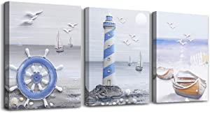 Marine Theme Canvas Wall Art Paintings for Living Room farmhouse Wall Artworks office Bedroom Decoration The Lighthouse and Boat Pictures Home Bathroom Wall Decor Posters, 12x16 inch/Piece, 3 Panels