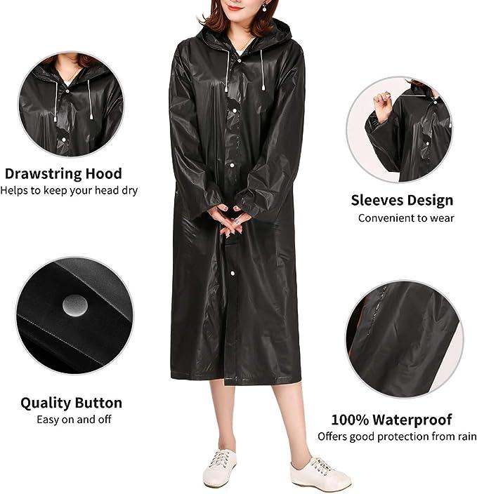 Yumian Women Reusable Raincoat ,Poncho Transparent Cover ,Waterproof Hooded Rainwear,EVA Button Conjoined Suit