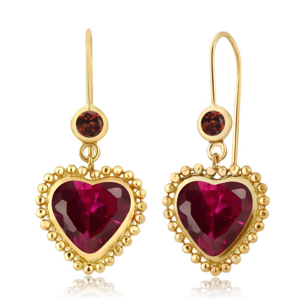 Heart Shape Lab Created Ruby Red 14K Yellow Gold Beaded Earrings - DeluxeAdultCostumes.com