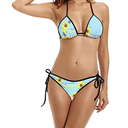 cd03240e50a Women Wreath Sunflower Stylish Bikini Swimsuit Summer Beach Bathing Suits  Push Up Brazilian Suit 2 Piece