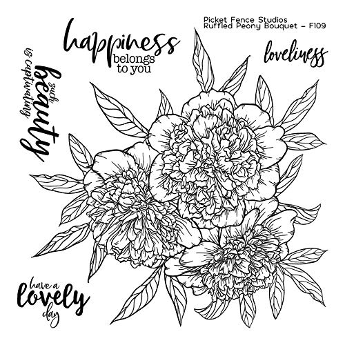 (Picket Fence Studios - Ruffled Peony Bouquet - Clear Cling Stamp Set # F109)