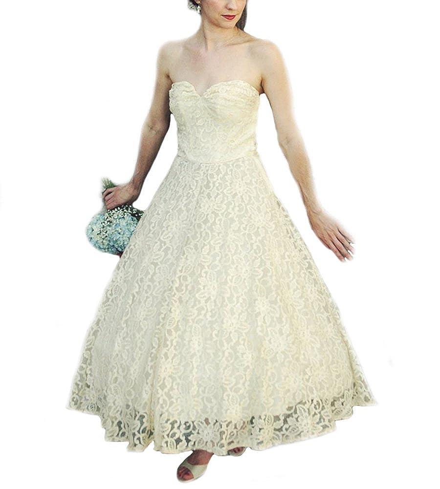 WeddingDazzle V-Neck Cap Sleeves Vintage Wedding Gowns Short ...