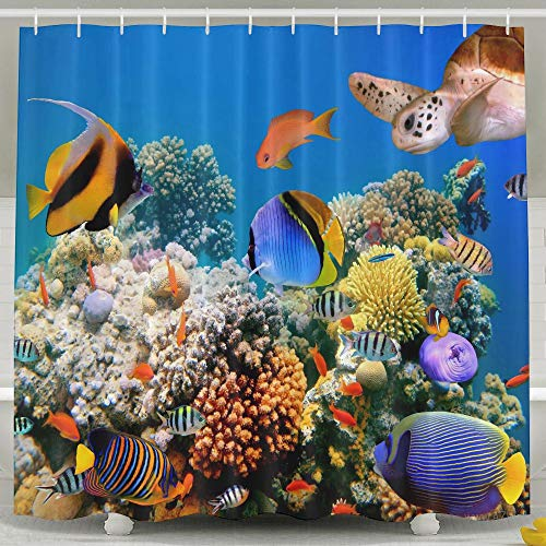 Huangwei Underwater World Fish Turtles Corals Shower Curtain Water-Repellent Polyester Fabric Bath Curtain 36