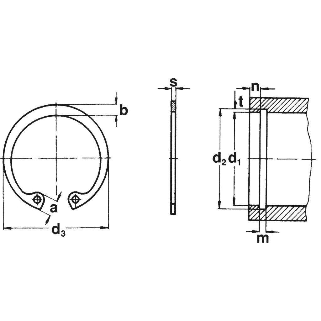 10 St/ück phosph Seeger-Ring original Sicherungsringe ge/ölt DIN 472 Typ J schwere Ausf/ührung 24X1,50 Federstahl Fst