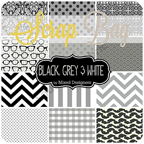 Black, White and Grey Scrap Bag (approx 2 yards) by Mixed Designers - Southern Fabric DIY quilt fabric from Southern Fabric