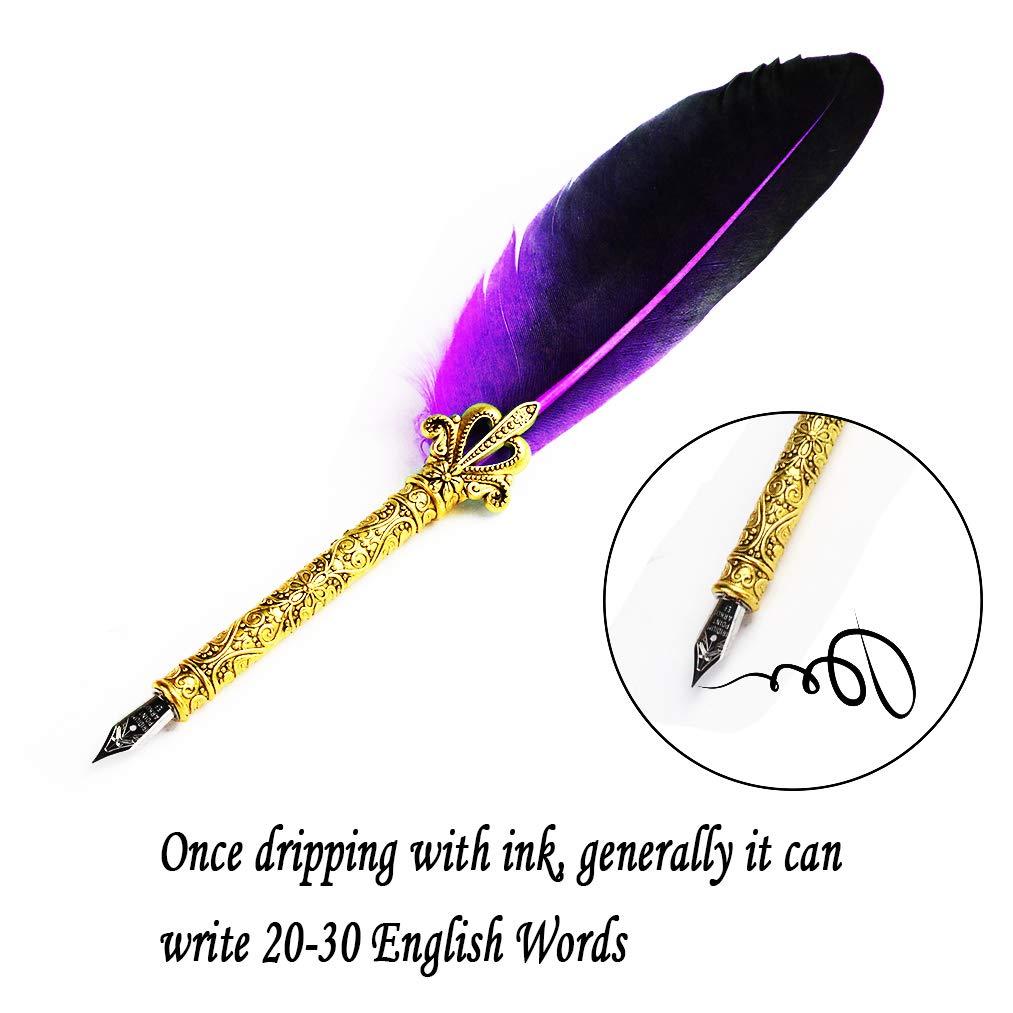 Handgemachte Dip Pen Englisch Kalligraphie Feder Schreibfeder Dip Quill Pen schreiben Tinte Set mit 5 Ersatzspitzen und Pen Nib Basis Calligraphy Set f/ür Briefpapier Geschenk