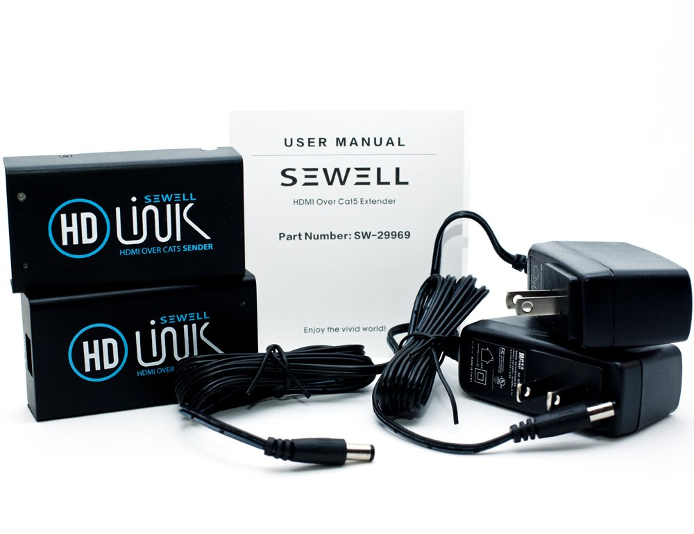 Sewell Direct SW-29969 Over 175ft 1080p HD-Link HDMI Over Single Cat5 Extender