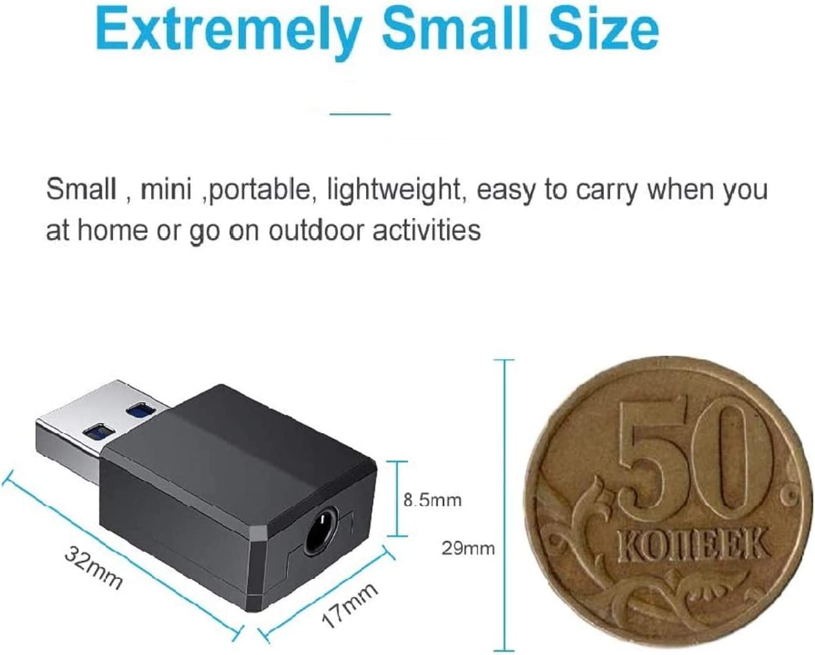 Mini Bluetooth 5.0 Dongle Wireless Audio Transmitter Receiver 2-in-1 USB Adapter with 3.5 mm Digital Audio Cable for PC//Headphones//Speakers//TV//Car//Printers ARMYU Bluetooth Adapter