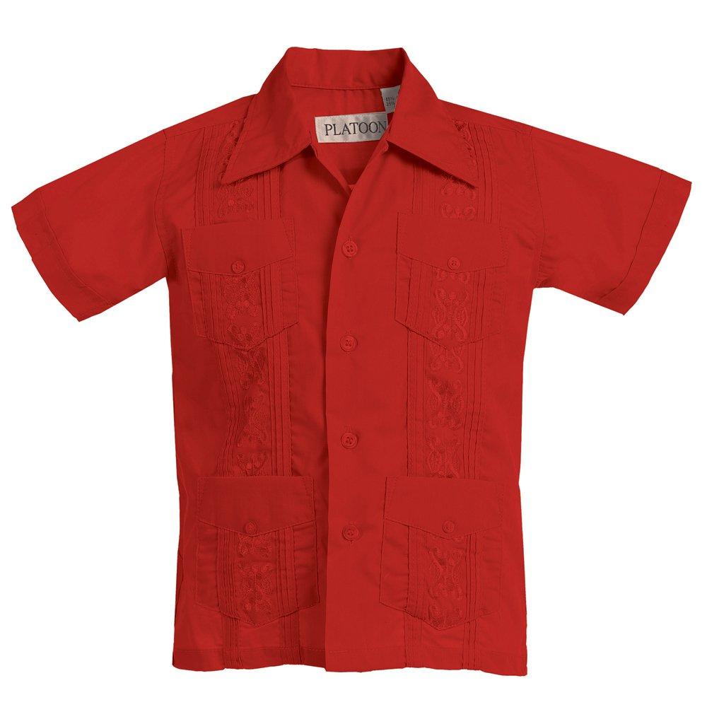 Platoon Kids Boys Guayabera Short Sleeve Cuban Shirt Wedding Beach - Toddlers & Juniors (5, Red)