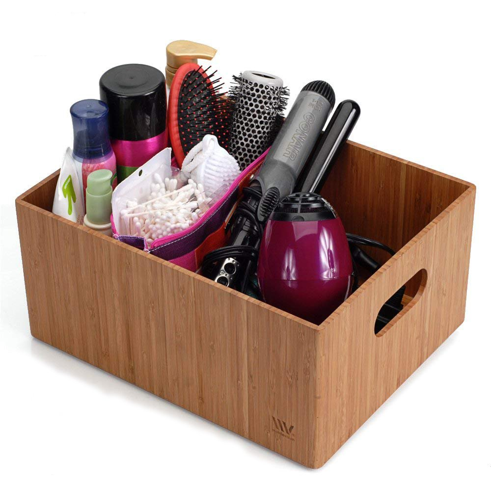 MobileVision Bamboo Bathroom Bin Organizer for Toiletries, Make Up & Cosmetics, Brushes, Styling Tools & Products, Cleaning Supplies, Toilet Paper 14'' x 11'' x 6.5''
