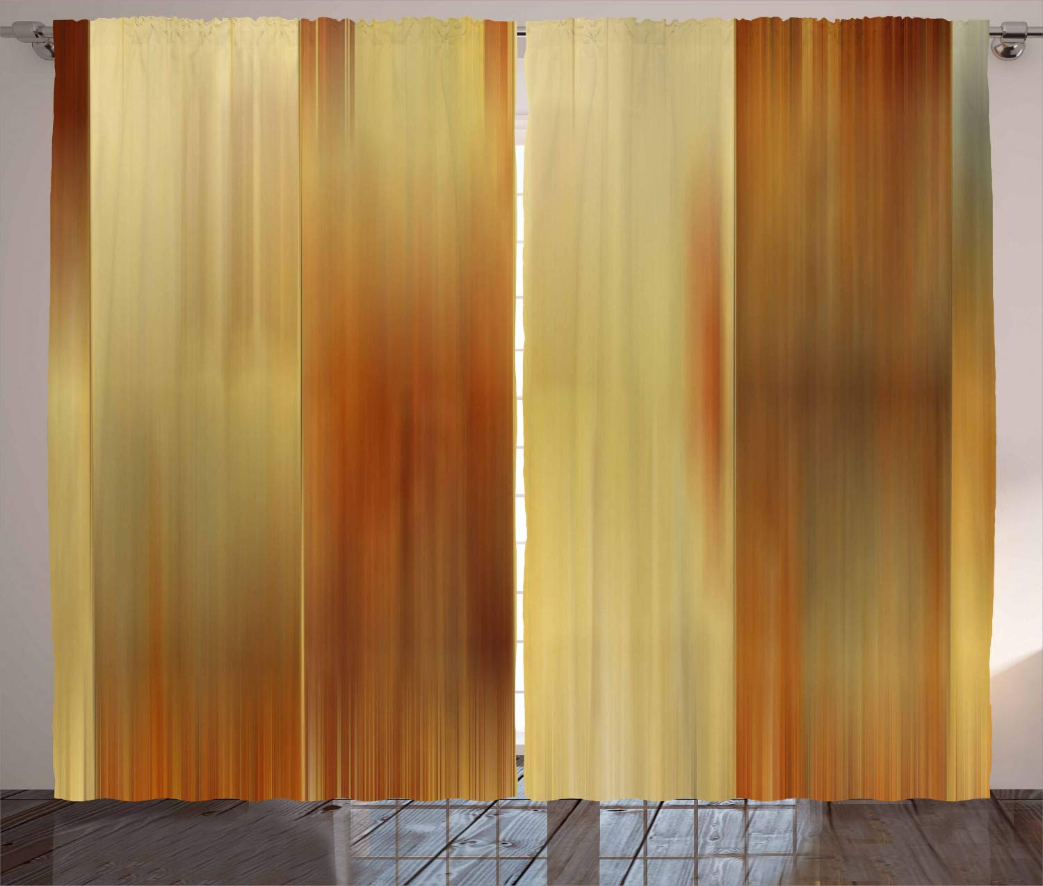 """Ambesonne Earth Tones Curtains, Abstract Modern Design with Ombre Inspired Smooth Color Transitions, Living Room Bedroom Window Drapes 2 Panel Set, 108"""" X 84"""", Yellow Ginger"""