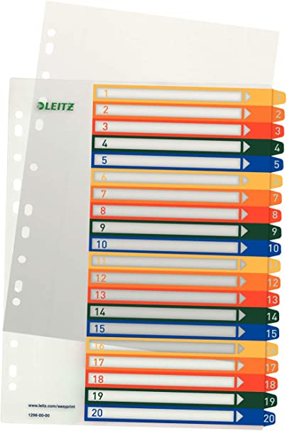 Register A4 1-6 tra fbg.Tabs LEITZ 1292-00-00 Plastik /überbr.