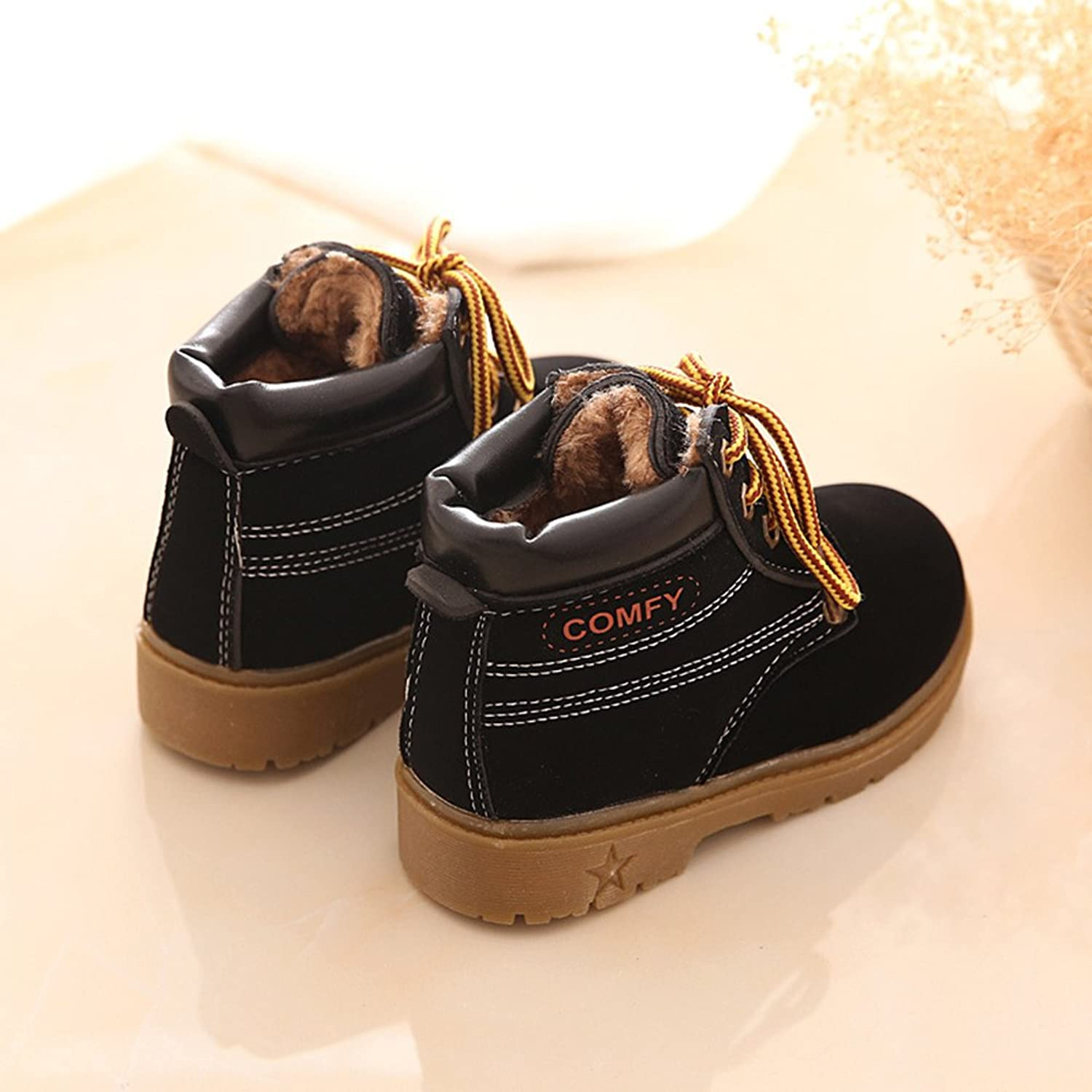 Winter Kids Snow Boots Ankle Boots - hibote Boys /Girls Martin Boots With Warm  Lining Snow Winter Boots Rubber Sole Lace-up Non-Slip Shoes: Amazon.co.uk:  ...