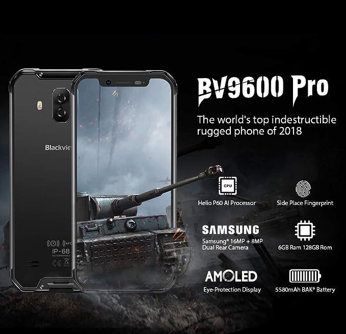 Blackview BV9600 Pro - Avanzado Dual Sim Smartphone Libre 4G LTE (2018), Pantalla 19:9 FHD AMOLED (Biseles Ultra Estrechos), Helio P60 6GB+128GB, ...