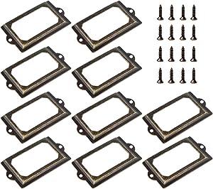 Juland 20 PCS Name Card Label Holder Frames Metal Office File Cabinet Shelves Drawer Tag Bronze Tone with Screws - 70×33mm