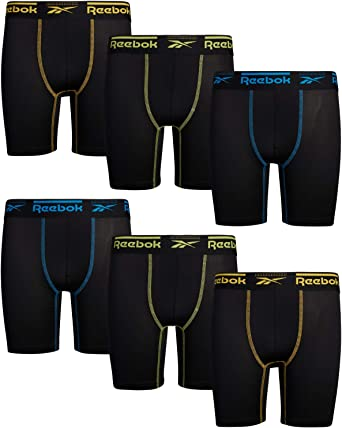 Pack of 6 Reebok Boys Performance Quick Dry Compression Long Boxer Brief